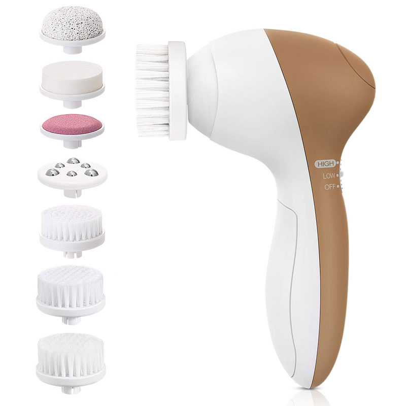 Facial Cleansing Brush, Waterproof Facial Cleansing Brush with 7 Exfoliating Brush Heads - Light Blue (Russet Brown)