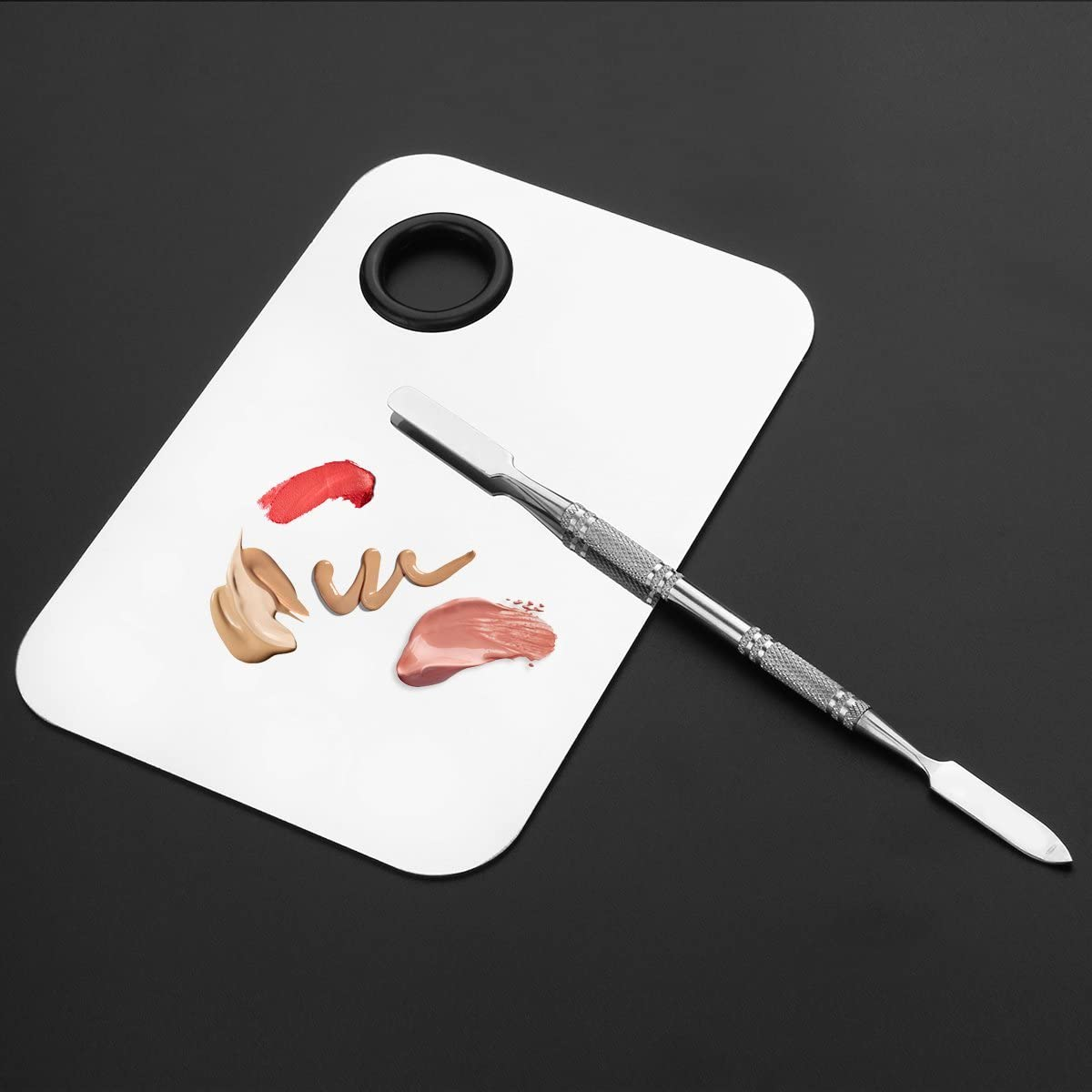 Makeup Palette Cosmetic Palette with Spatula Tool Stainless Steel Nail Manicure Tool (Silver)