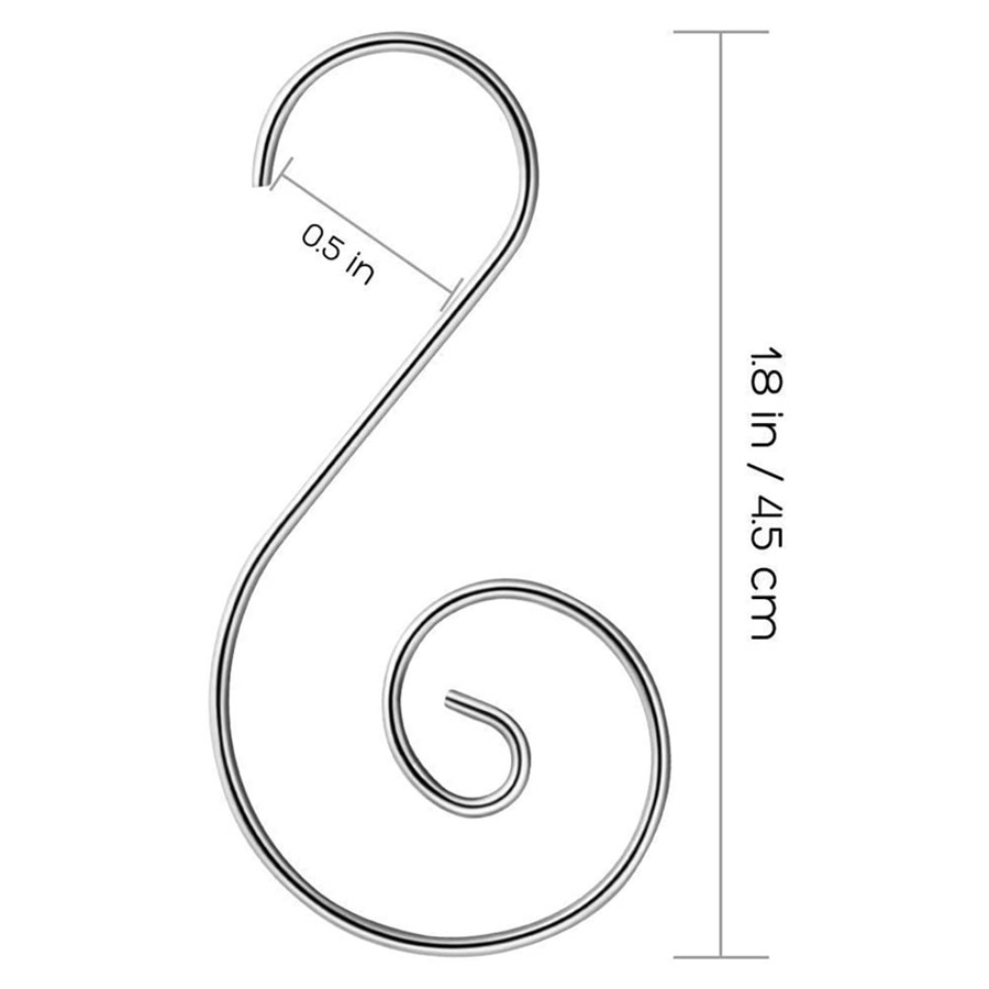S Shaped Hooks, Heavy Duty Stainless Steel Hanging Hangers Hooks for Utensils Clothes Bags Towels Plants 100 Pack