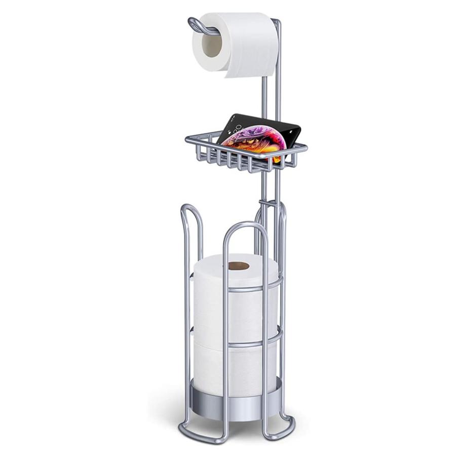 Toilet Paper Holder Stand, Bathroom Tissue Holders Free-Standing Toilet Paper roll Holder with Storage Shelf