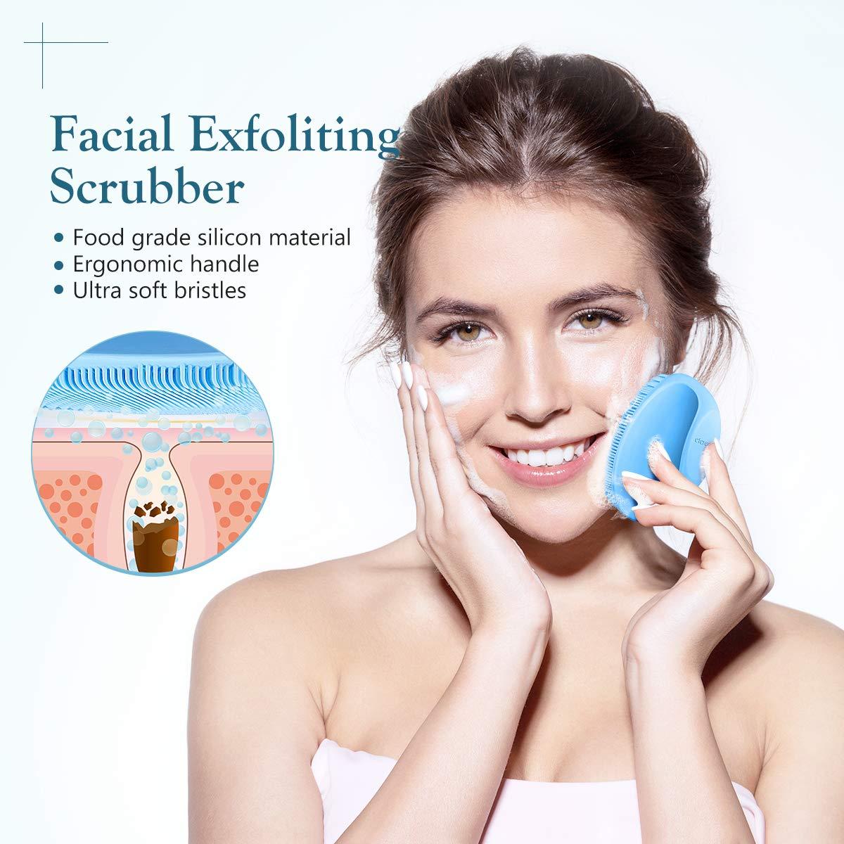 Reusable Cotton Pads for Face & Face Scrubber, Reusable Makeup Remover Pads Silicone Face Scrubber Set (16 Pack)