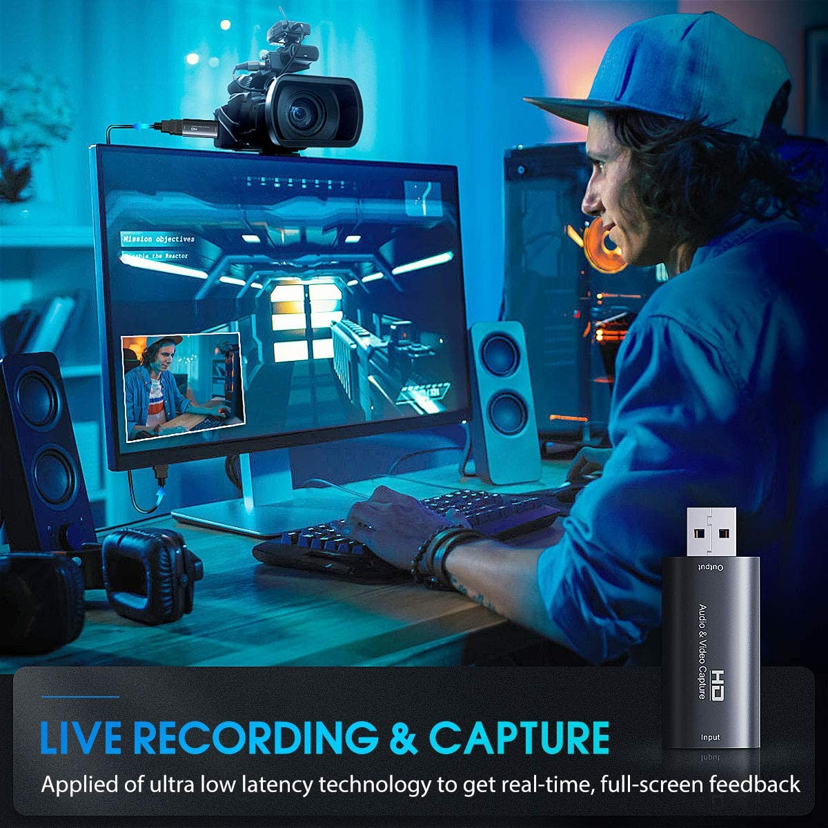 Video Capture Cards & HDMI Game Capture USB 2.0 Record via DSLR Camcorder Action Cam for Video Gaming, Streaming