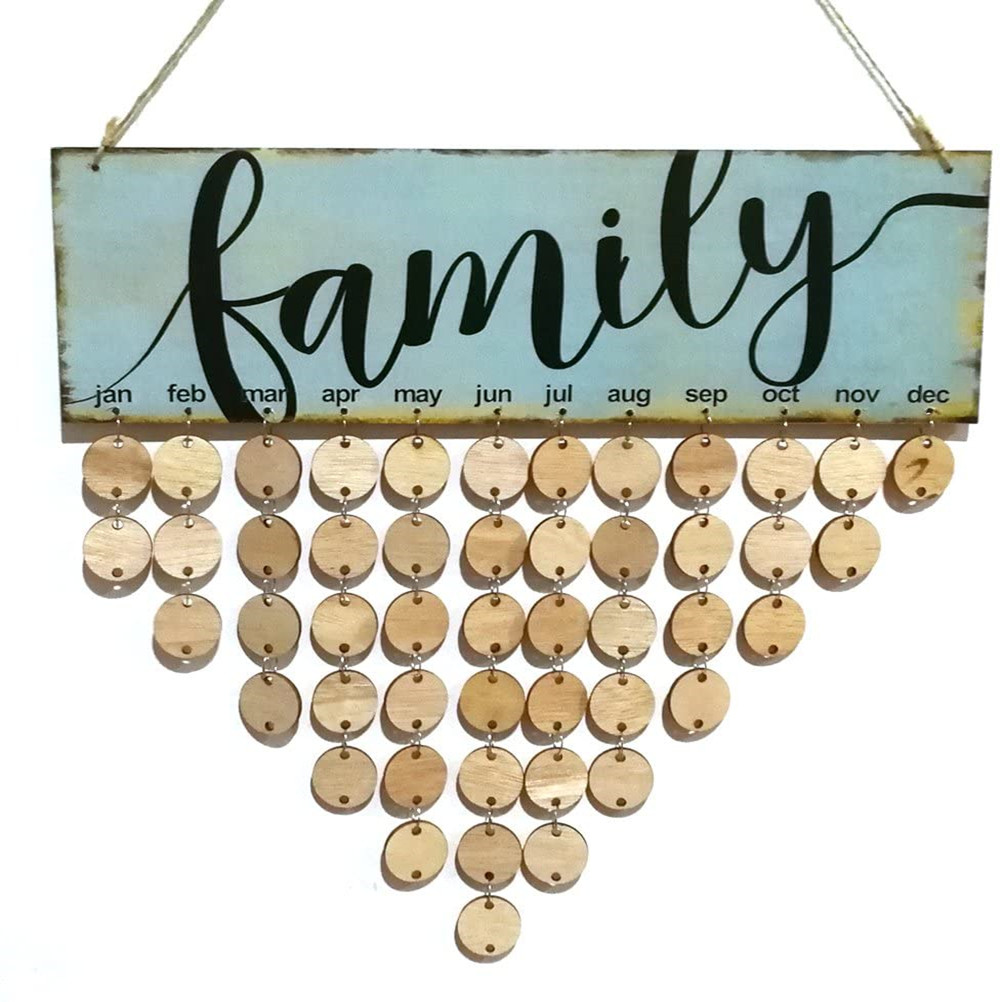 Family Birthday Reminder Hanging DIY Wooden Calendar Plaque Home Wall Decoration (Blue)