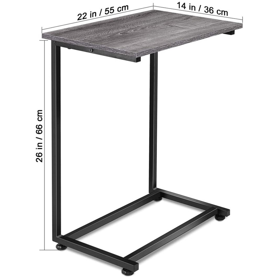 C Table Sofa Side End Table Wood Finish Steel Construction Easy Assembly 26-Inch for Small Space (Gray)