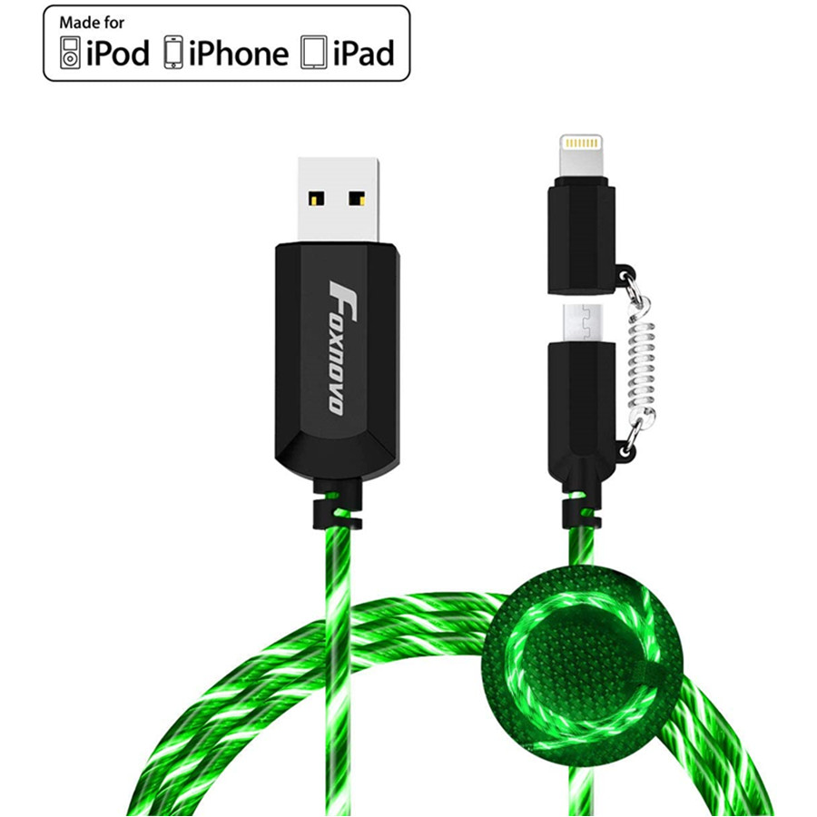 Apple MFi Certified Led iPhone Charger Cable, 2-in-1 Led Lightning Cable with 360 & Flowing Light ,3.3 ft (Green)