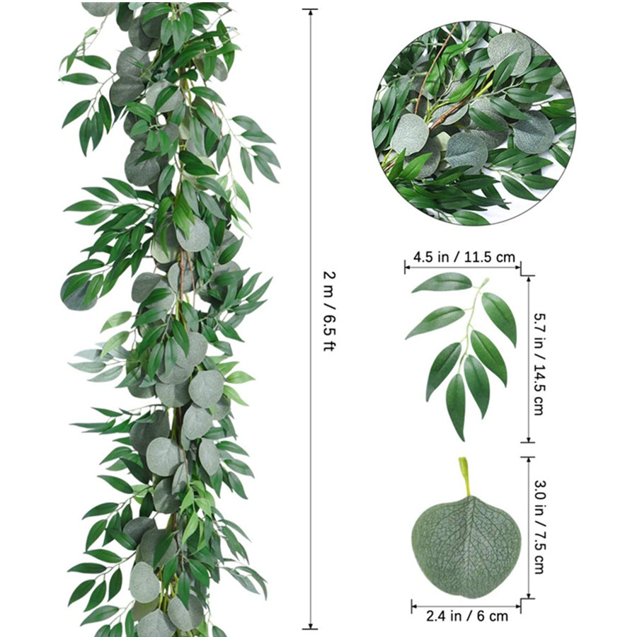 Greenery Garland Artificial Silver Dollar Eucalyptus Garland and Willow Vines Twigs Leaves Garland String for Indoor Outdoor Decor