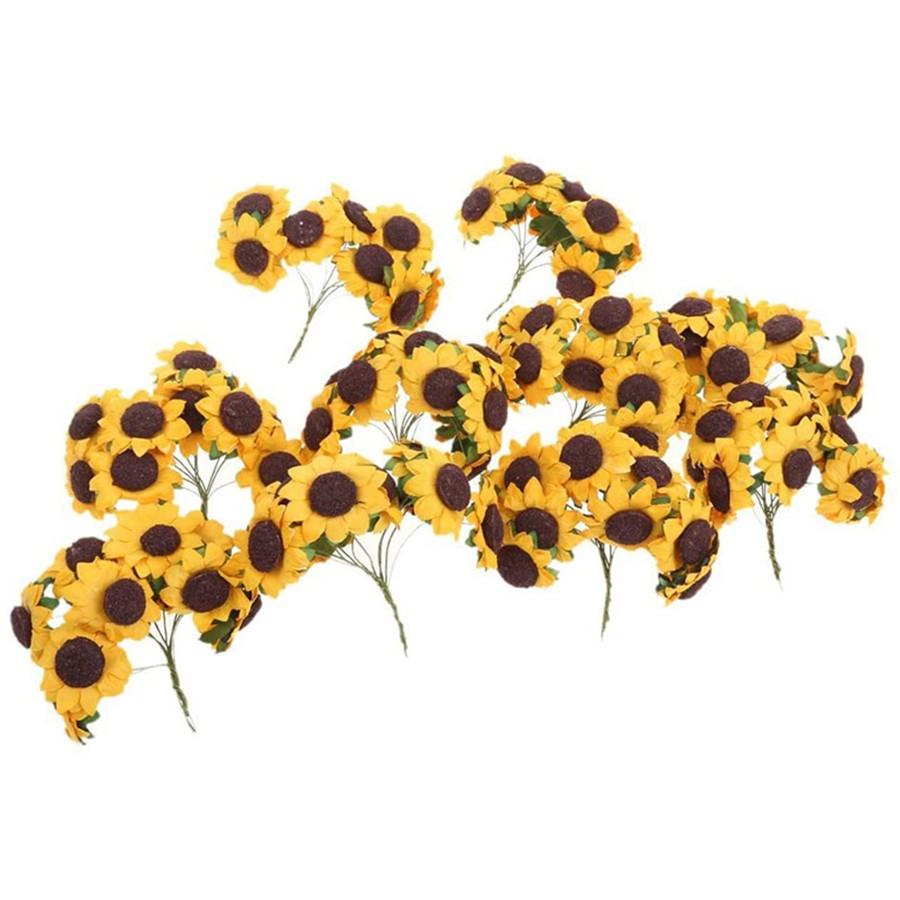Chic Mini Artificial Paper Sunflower Wedding Card Decor Craft DIY 100pcs (Orange)