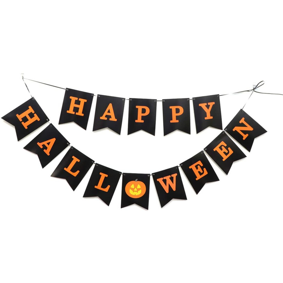 Banner Paper Pumpkin Creative Party Supply Decorations Garland Bunting for Decor Halloween Ornaments