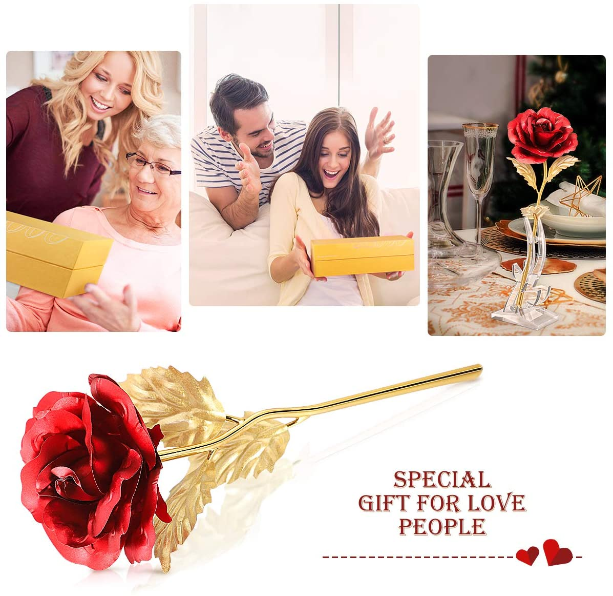 24k Gold Rose with Stable Bracket, Artificial Gold Rose Flower with Elegant Gift Box and Card