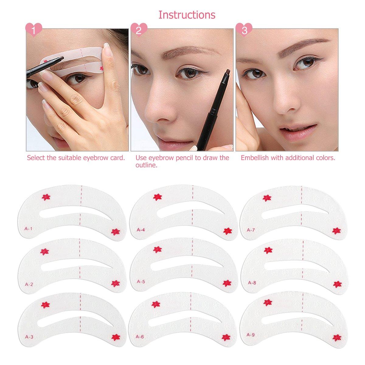 Eyebrow Shaping Stencils, Eyebrow Grooming Stencil Kit, Eyebrow Grooming Card Shaping Templates DIY Tools,9 Styles