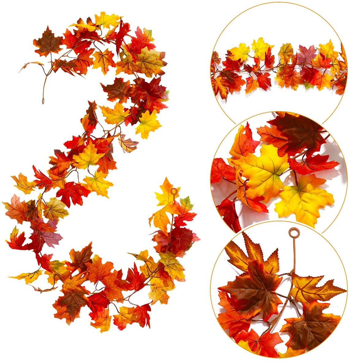 Fall Garland Maple Leaf, Artificial Autumn Maple Leaves Garland 2 Packs with 8 Pcs Artificial Pumpkins