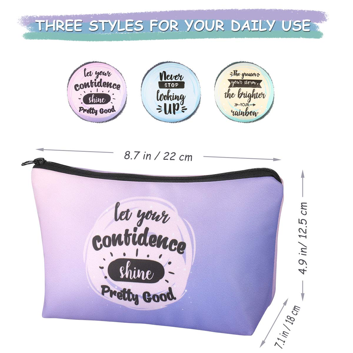 Small Makeup bag for Purse with Proverbs, Cosmetics Bags Waterproof Portable Pencil Bag Case for School Supplies 3pcs