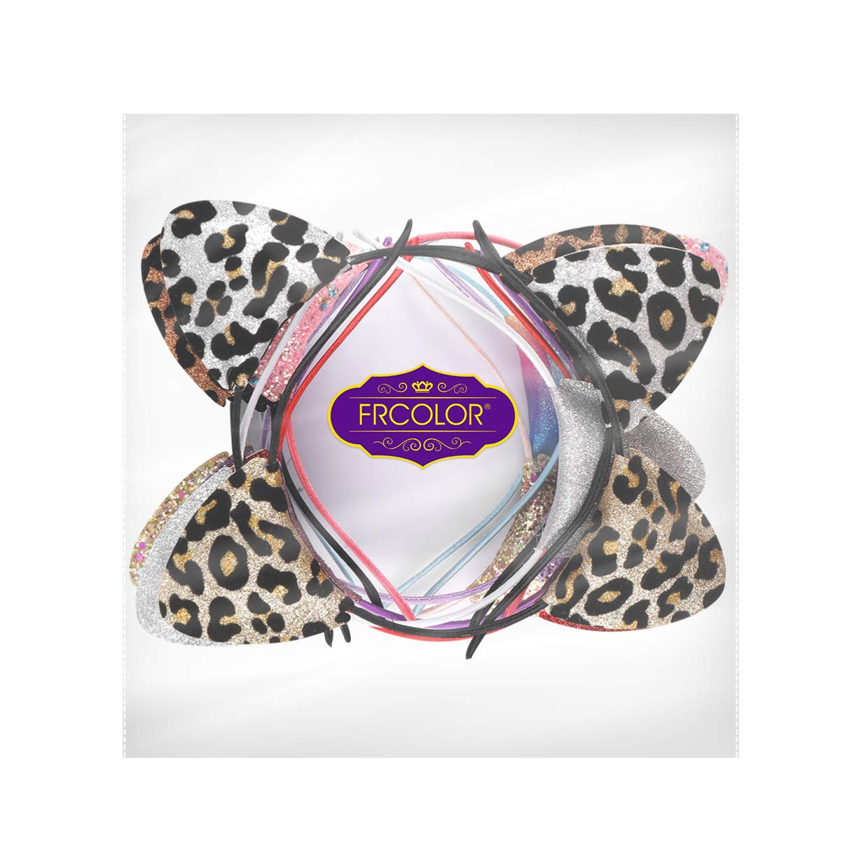 Cat Ears Headband, Double-sided Glitter Sequin Cat Ear Hair Hoops Cute Scrunchies, 12 Pack
