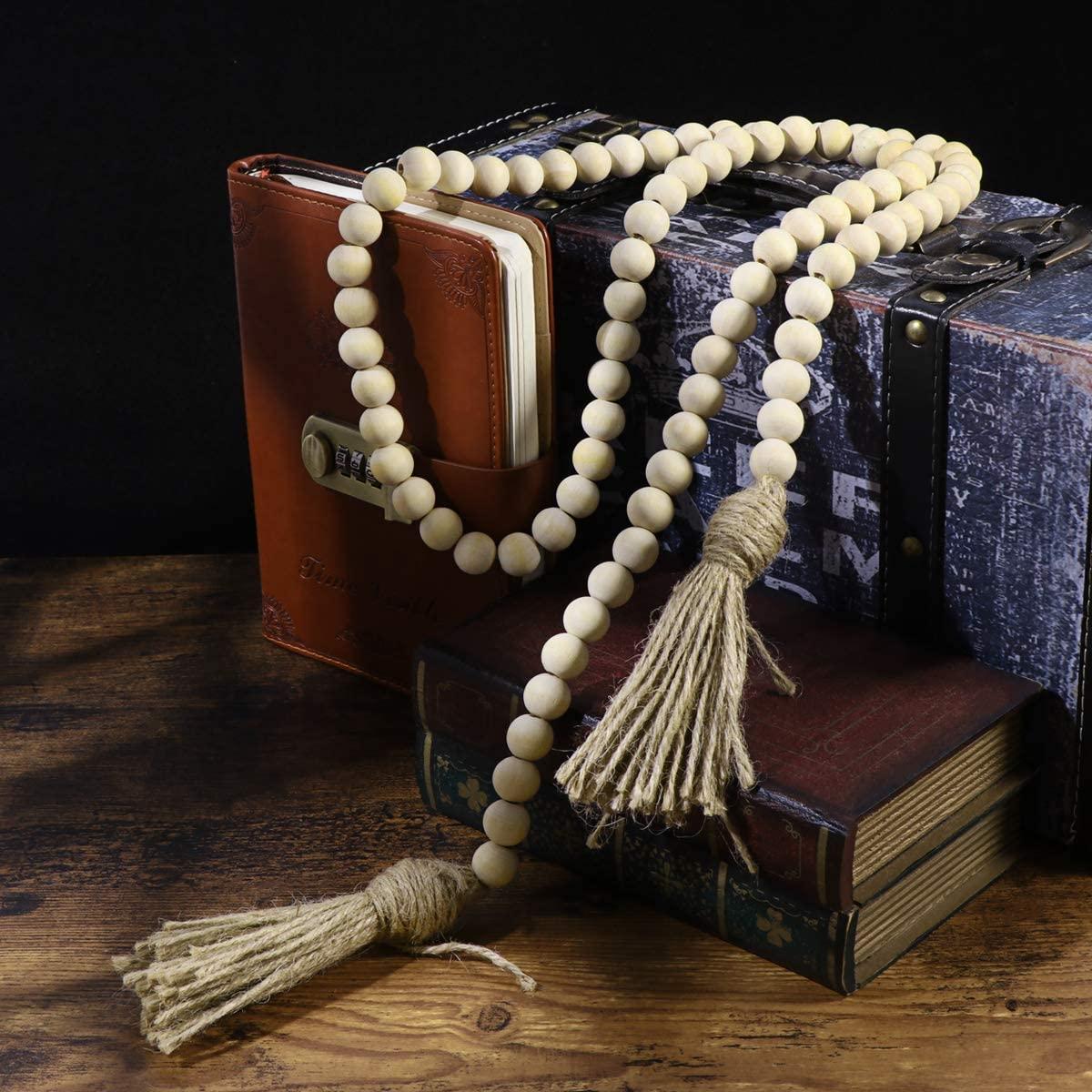 Wood Bead Garland Farmhouse Decor Beads Decor with Tassels Blessing Beads for Farmhouse Bathroom Decor