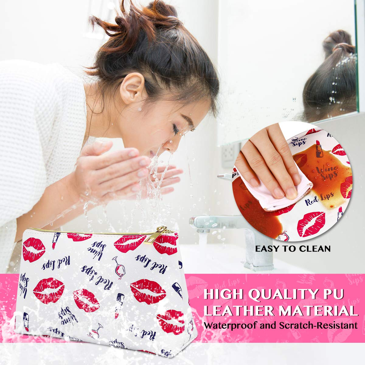 Makeup Bags, Cosmetic Bag 3 Packs Portable Travel Makeup Case Toiletry Bag for Women Girls