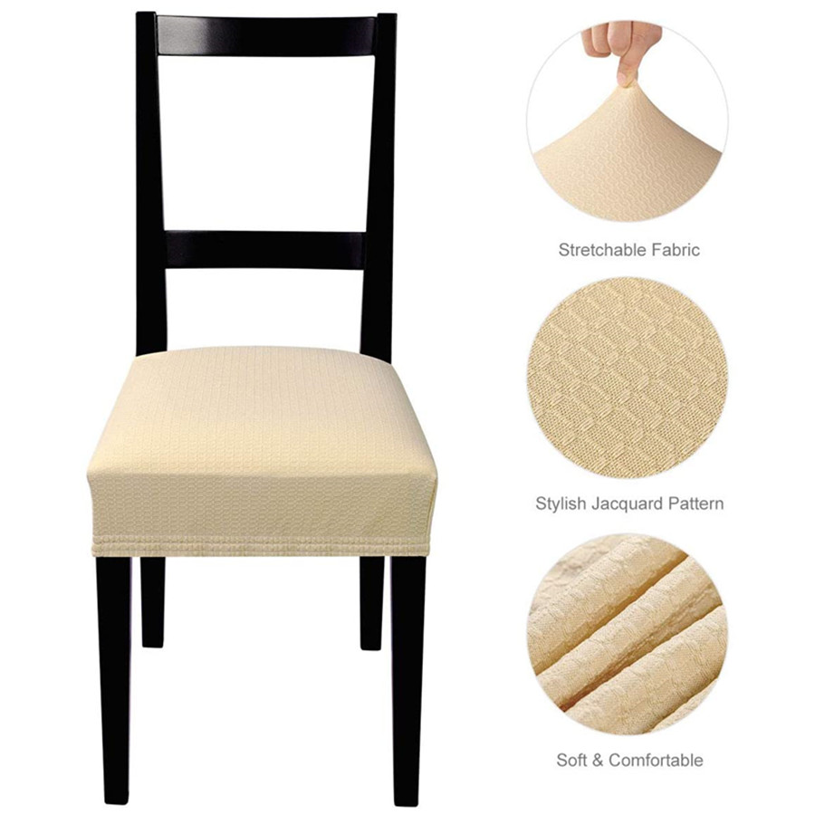 Stretch Jacquard Chair Seat Covers Removable Washable Anti-Dust Dining Chair Covers, Pack of 4 (Beige)