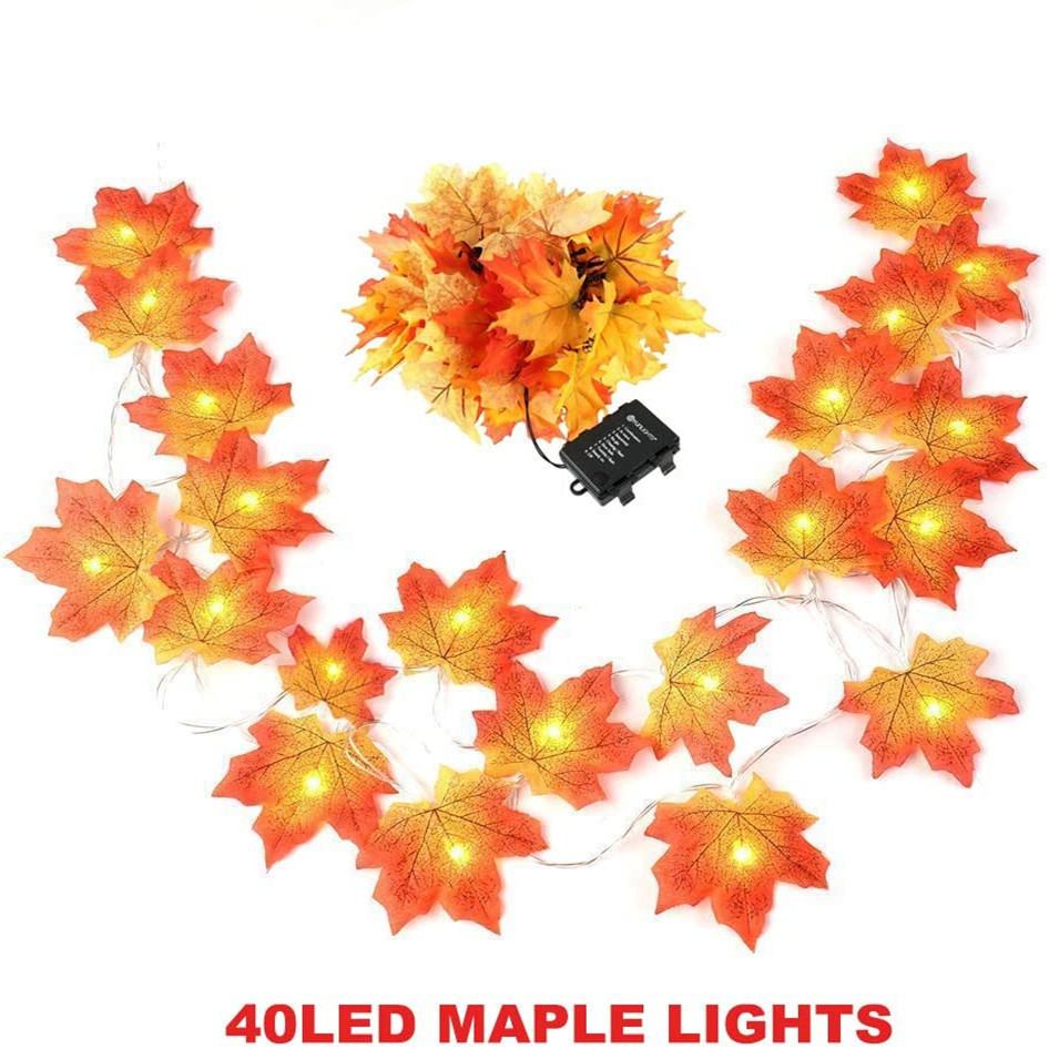 Waterproof 14.7 Feet 40 LED Autumn Maple Leaves String Lights, Battery Powered, Decorations for Indoor Outdoor (Warm White)