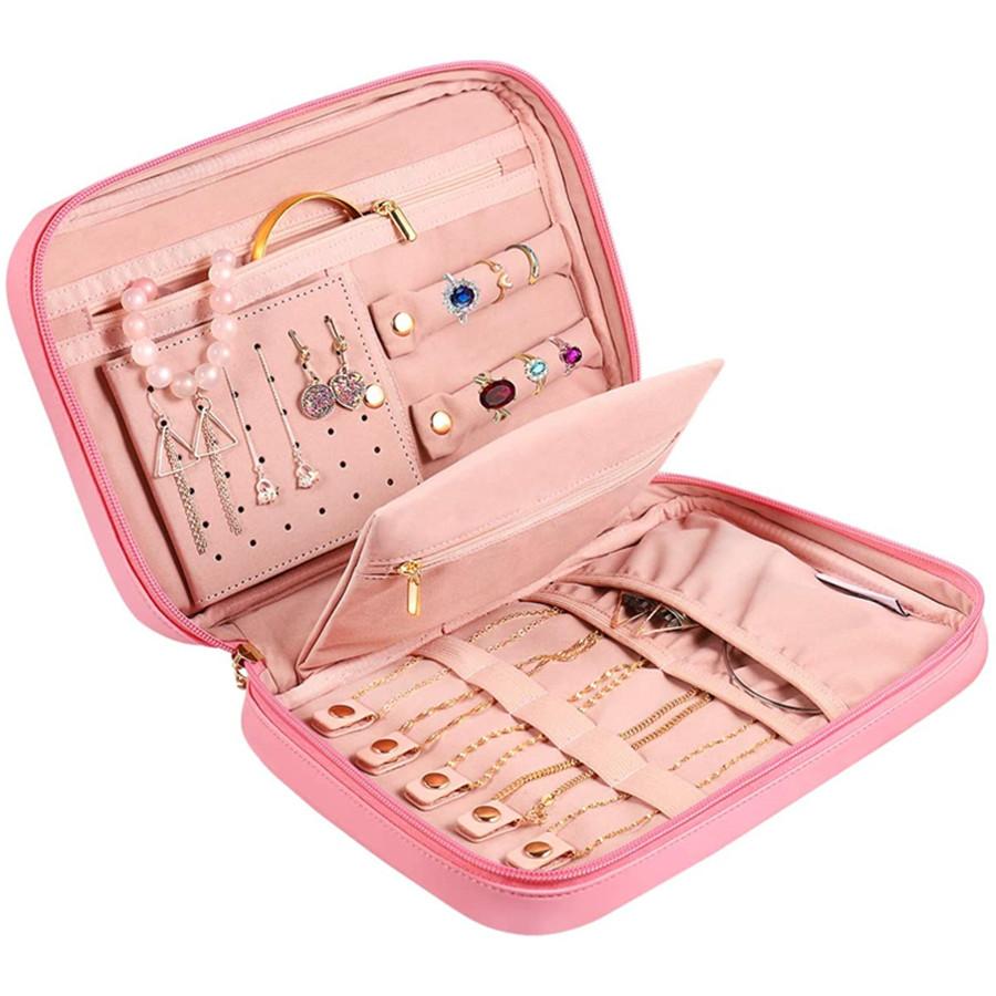 Earring Holder Jewelry Organizer Bag Multifunctional PU Leather Lightweight Travel Jewelry Case Earring Organizer (Pink)