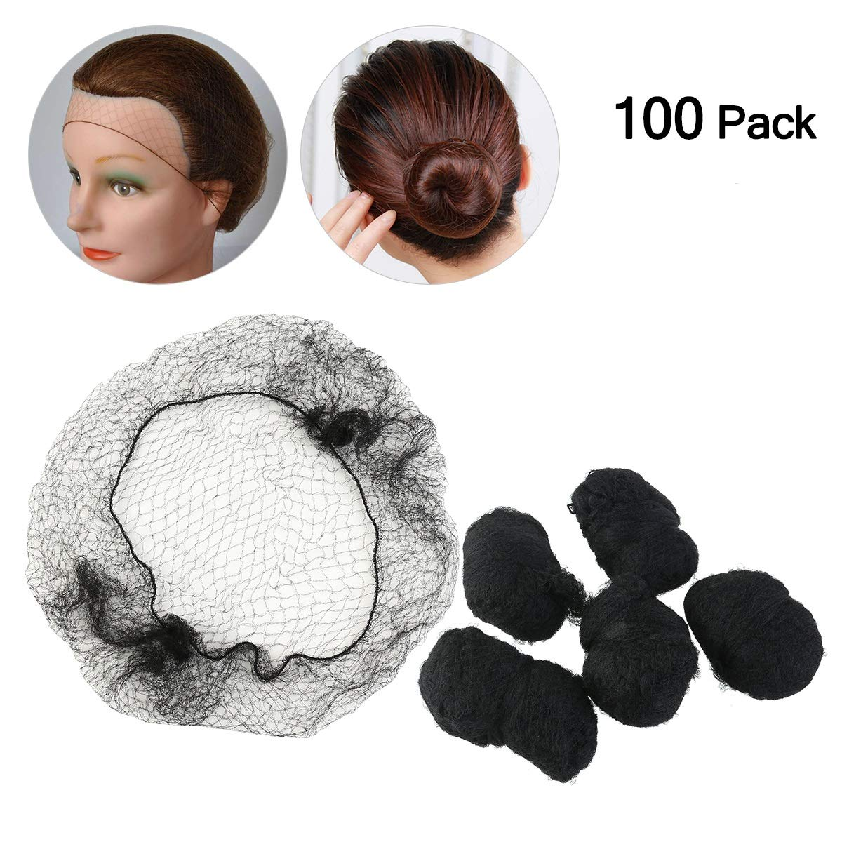 Hair Nets Invisible Elastic Edge Mesh Invisible Hair Net Dress-up Accessories 100pcs (Black)