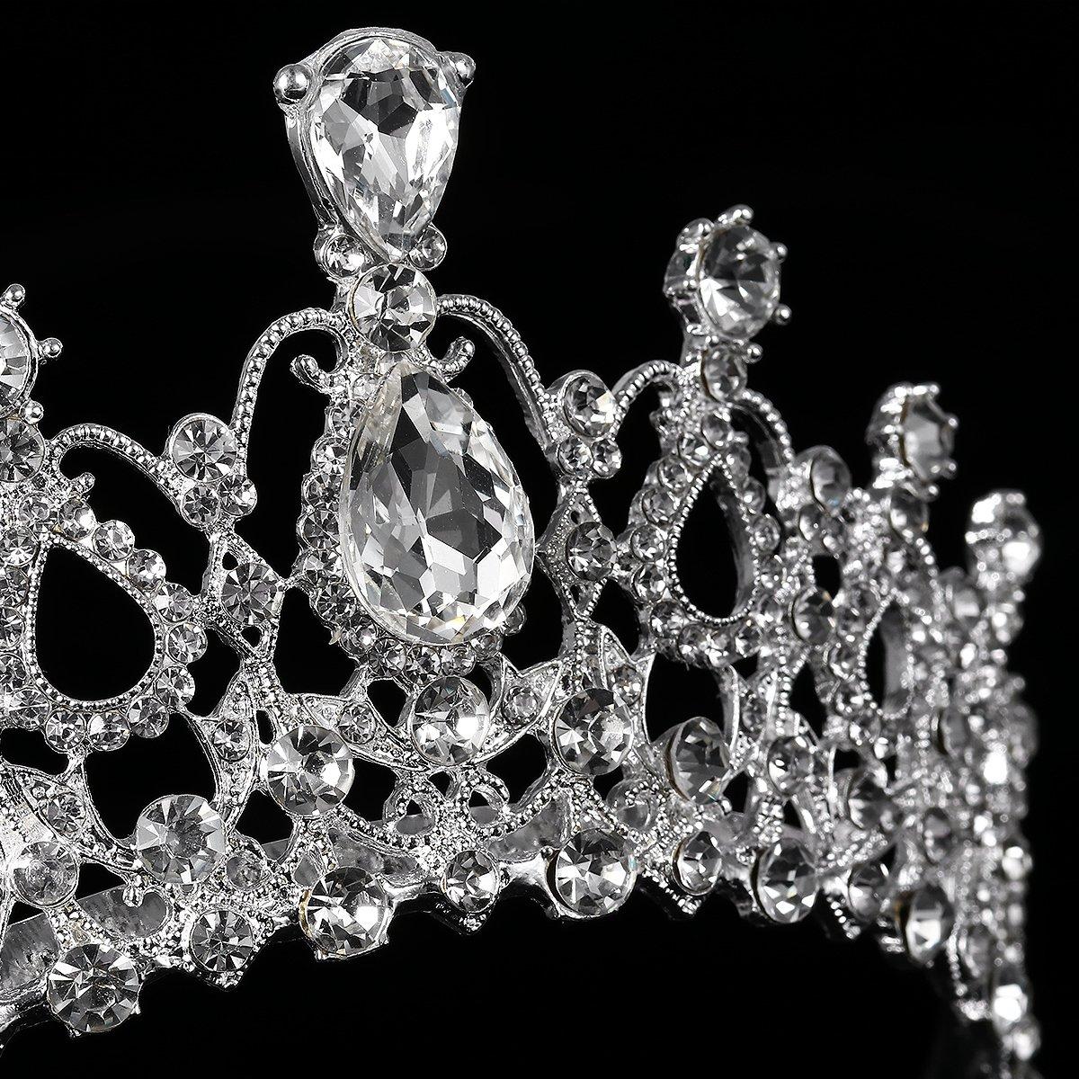 Princess Tiara Wedding Tiara Crystal Rhinestones Tiara Crown with Comb Pageant Princess Crown (Silver)