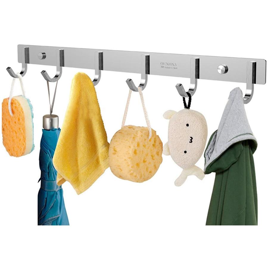 Wall Coat Rack Coat Hooks Door Hooks Wall Mounted Stainless Steel Hook Rack for Clothes (6 Hooks)