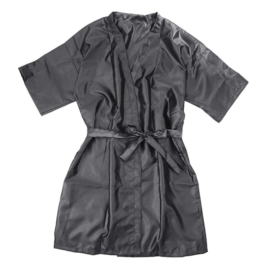 Barber Capes Client Gown Kimono Hair Salon Cape Hair Stylist Grooming Smocks for Women (Grey)