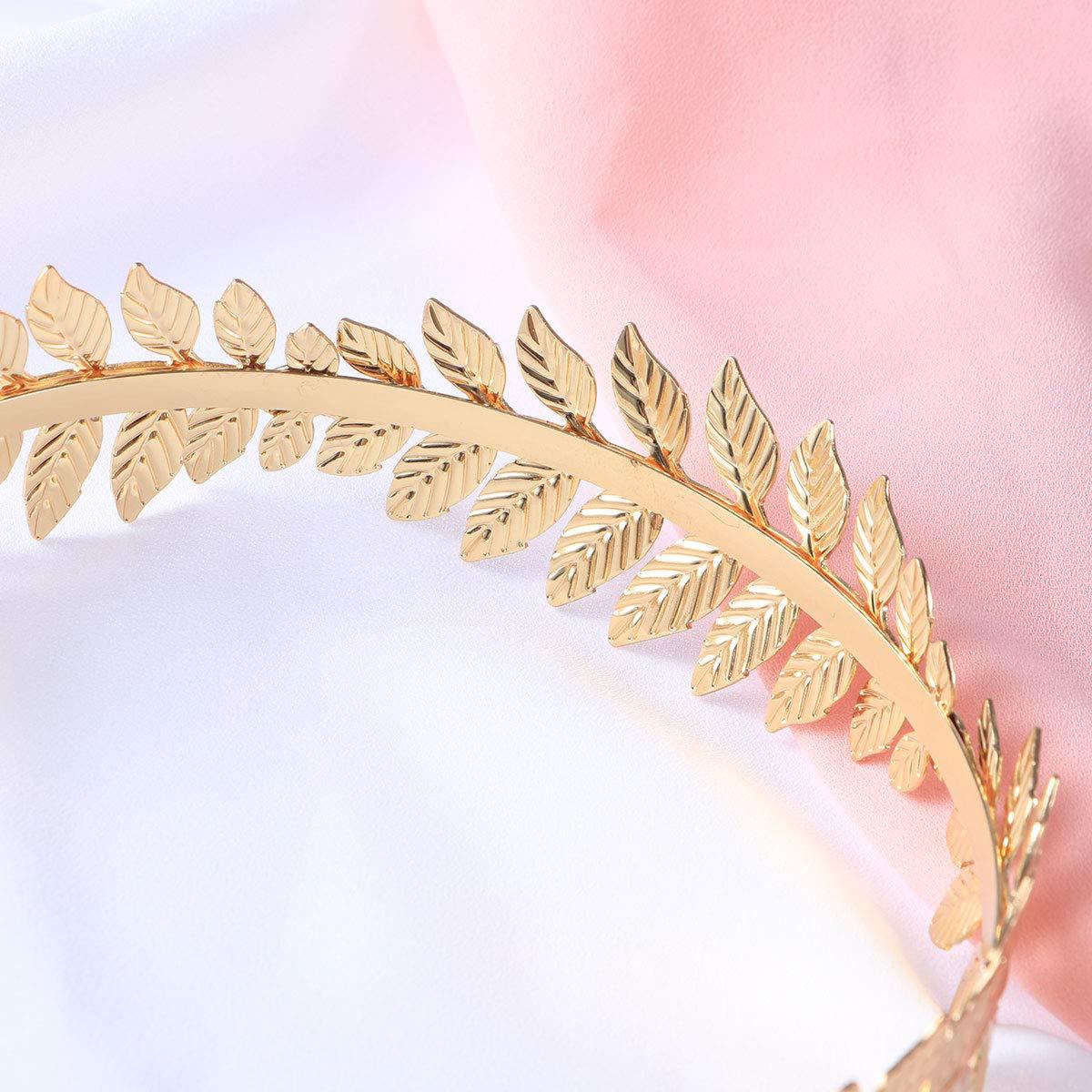 Bridal Hair Crown Roman Goddess Leaf Branch Hair Band Dainty Head Dress Headband for Women (Gold)