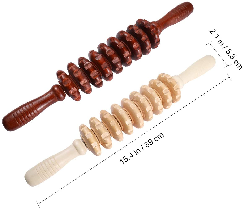 Wood Massager Roller Handheld Full Body Roller, Massage Trigger Point Manual Muscle Release Roller 2Pcs