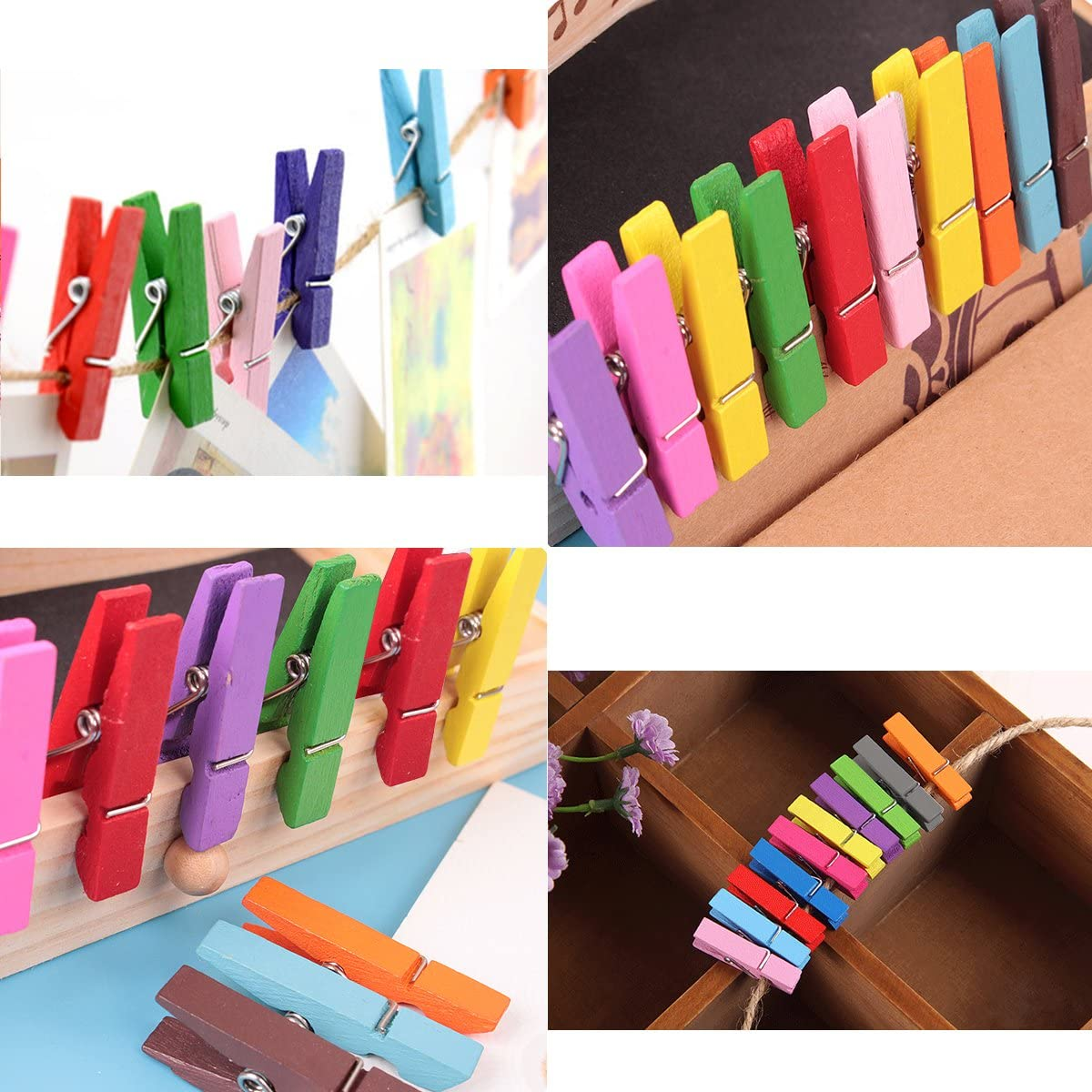 Color Wooden Clothespins Durable Clothes Pegs Pins,Colorful Photo Clip for Photos Pictures Crafts 40pcs (Random Color)