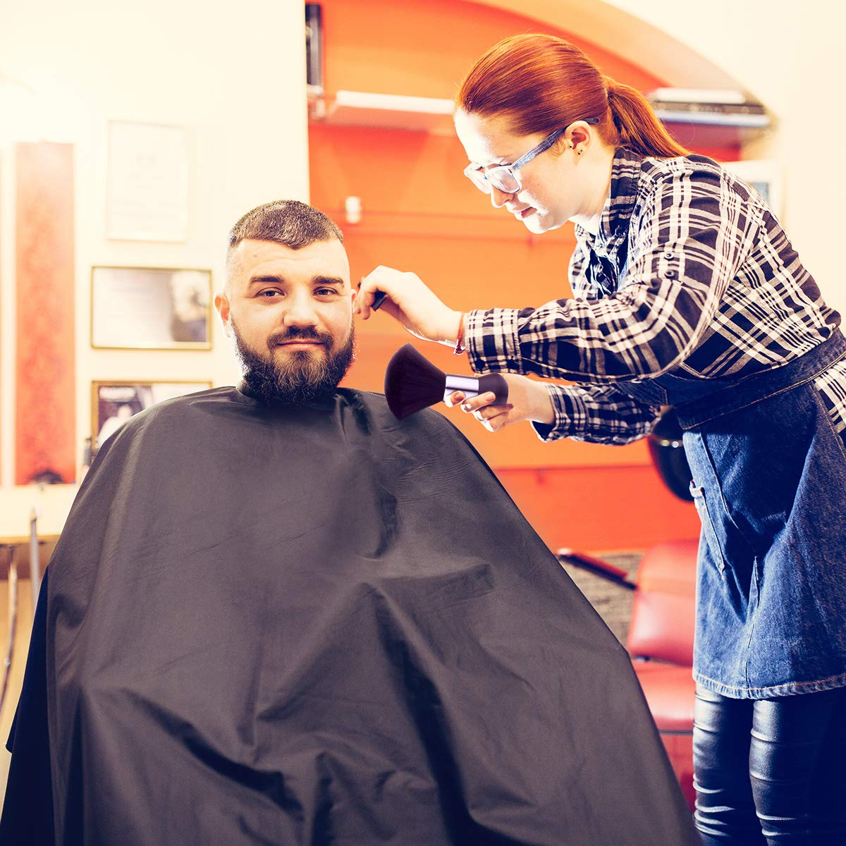 Professional Barber Cape with Snap Closure, Hair Cutting Salon Cape Hairstylist Cape, Neck Duster Brush Included