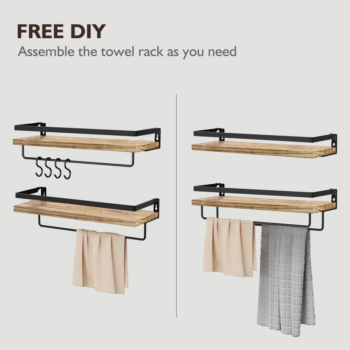 Floating Shelves Wall Mounted with 2 Towel Holders & 4 Extra Hooks, Set of 2 Wall Floating Shelf Home