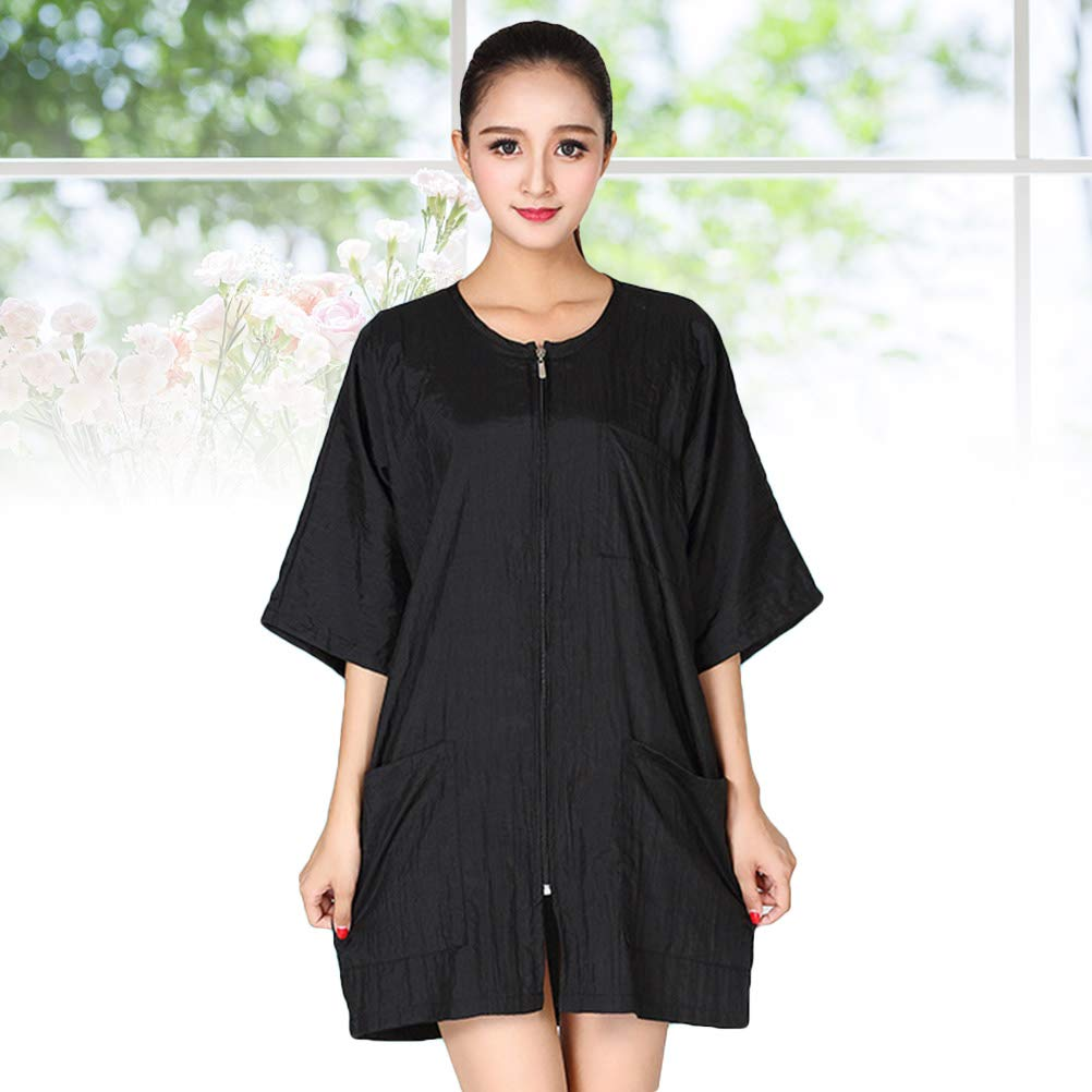 Salon Smocks, Short Sleeve Barbers Aprons Waterproof Hairdressing Cape Nylon Hair Cutting Cape with Zipper