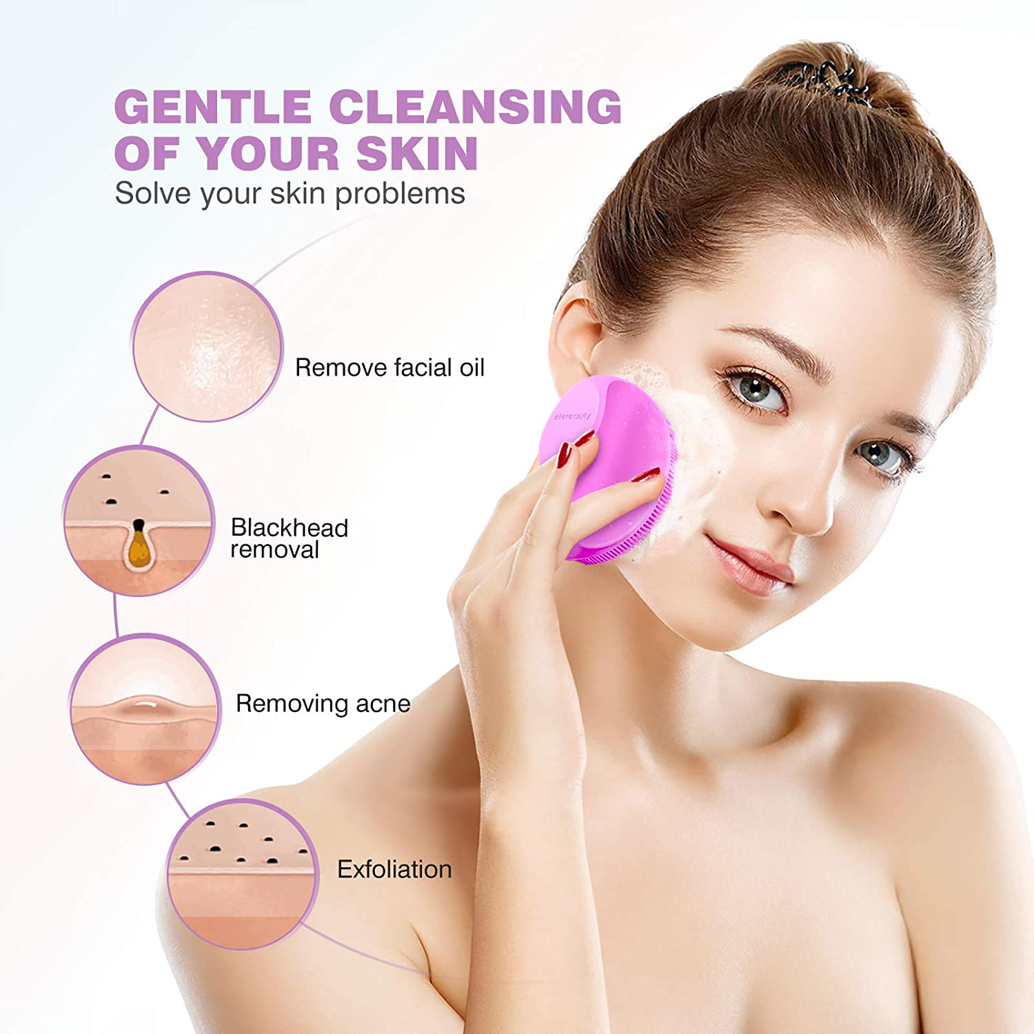 Silicone Face Scrubber Exfoliator Brush, Manual Facial Cleansing Brush Pad Soft Face Wash Brush 2 Pack (Gray and Pink)