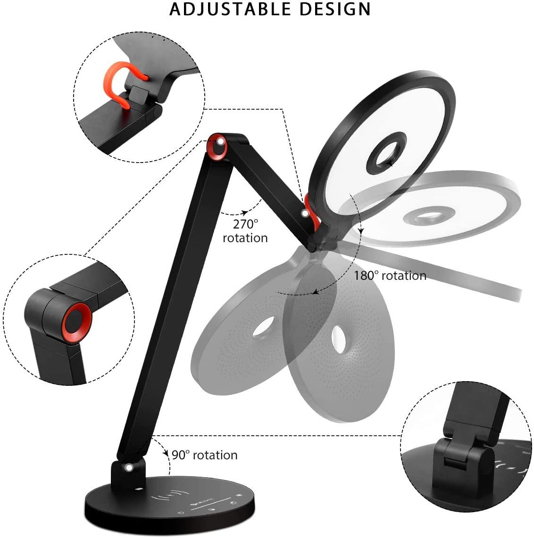 LED Desk Lamp with Wireless Charging, 15W LED Lights Desk Lamp Eye Care 5 Brightness Levels & 3 Color Modes