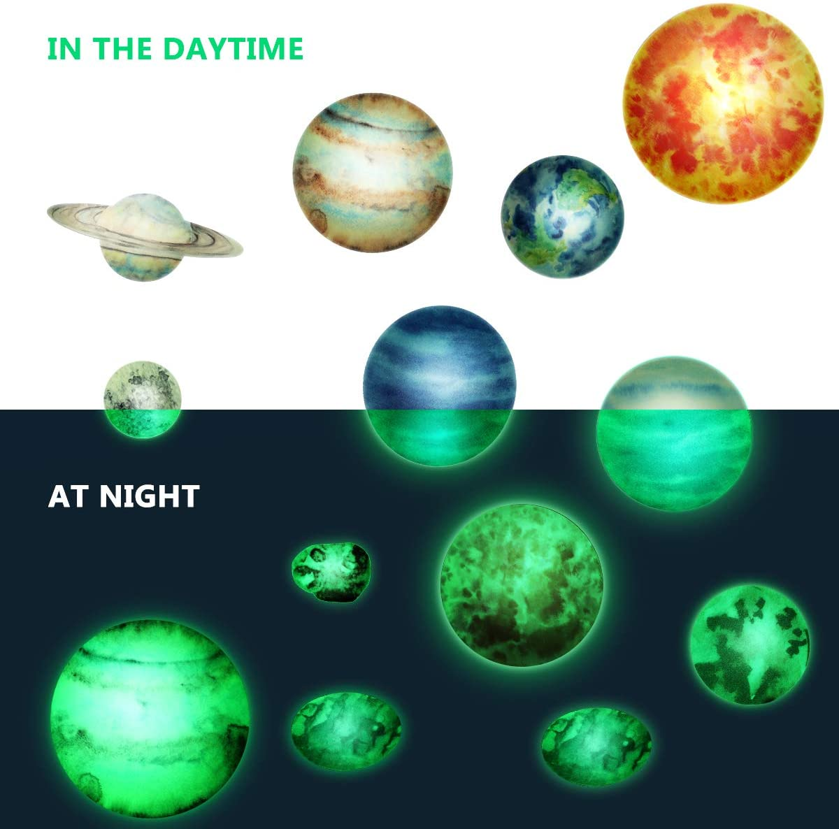 Glow in The Dark Stars Stickers and Planets,Bright Solar Wall Stickers Wall Decals for Girls,140PCS