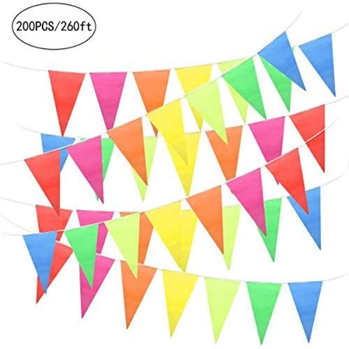 Multicolor Pennant Banner Triangle Flags for Birthday Party Supplies Festivals Decorations, 260 Feet