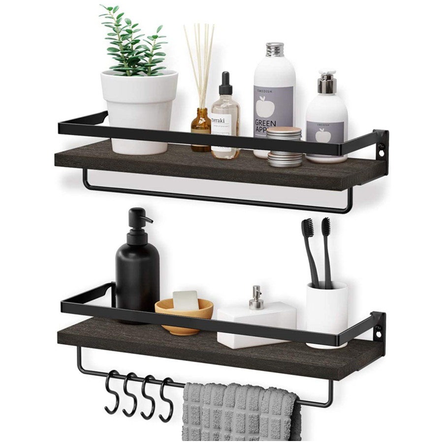Floating Shelves Wall Mounted with 2 Towel Holders & 4 Extra Hooks, Set of 2 Wall Hanging Shelf Home (Black/Gray)