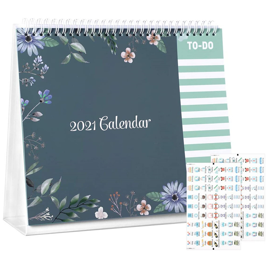Standing Flip Calendar, 2021 Desk Calendar Includes to do List Monthly with Planner Stickers