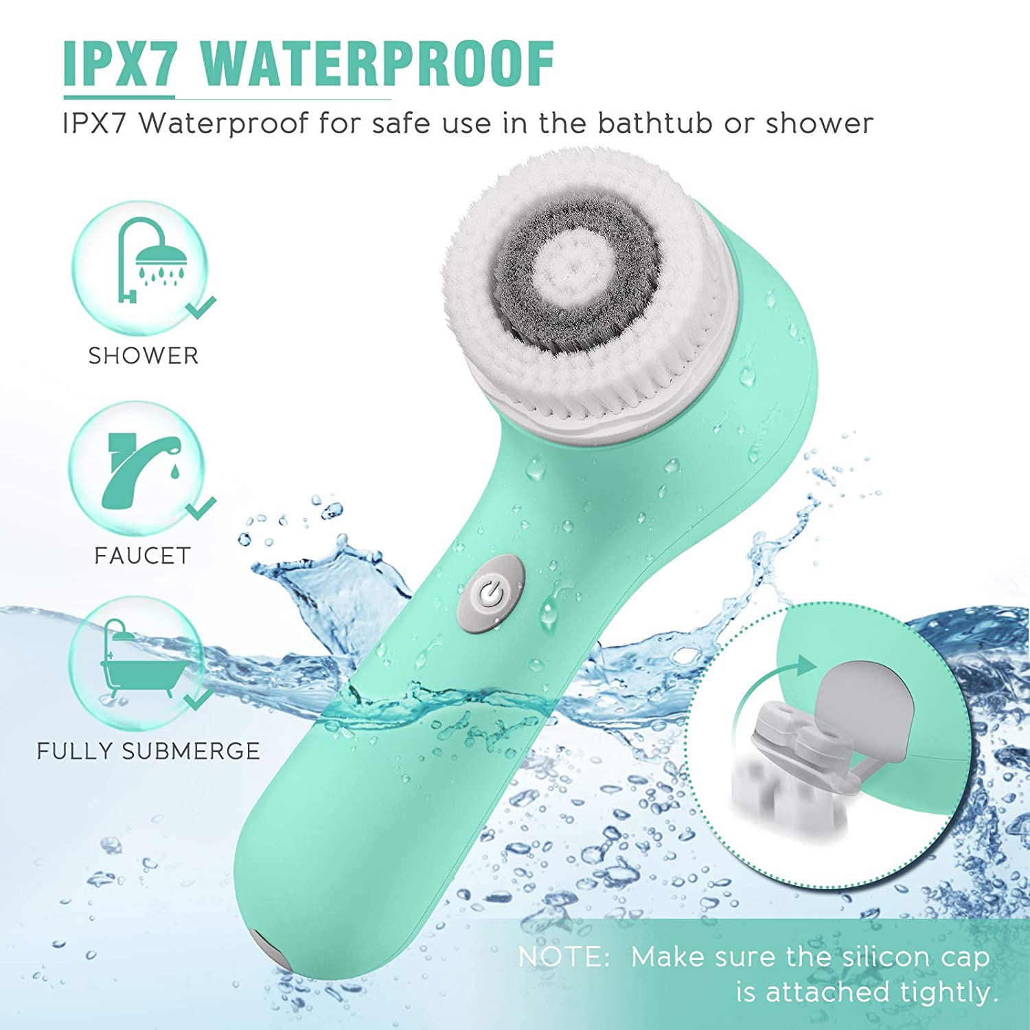 Facial Cleansing Brush, Rechargeable Face Spin Wash Brush with 3 Heads for Cleaning Massaging (Green)