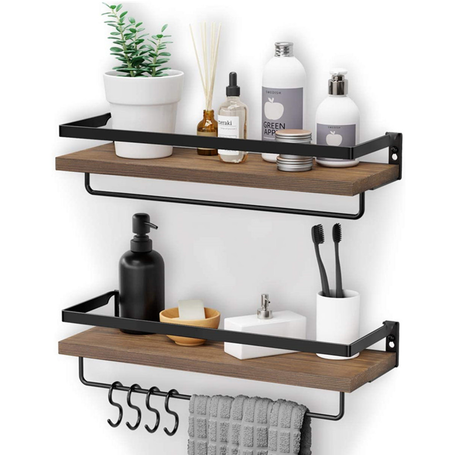 Wooden Shelves Wall Mounted, Wall Hanging Shelf with 2 Towel Holders & 4 Extra Hooks Set of 2 (Brown)