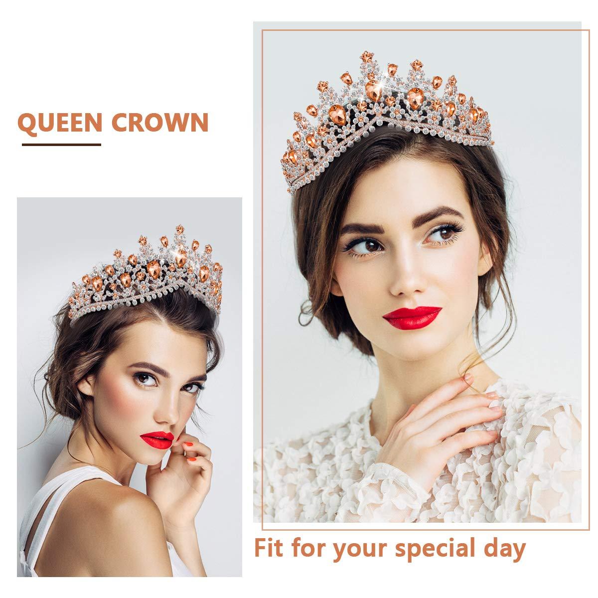 Wedding Crowns with Crystal & Side Combs, Wedding Tiara Princess Crown Headbands (Rose Gold)