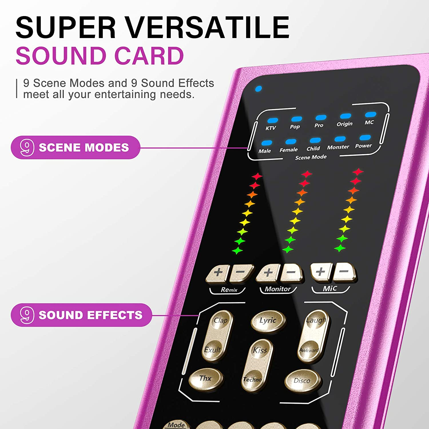 USB Podcast Microphone with Sound Mixer, Sound Card for Studio Microphone Kit (Purple)
