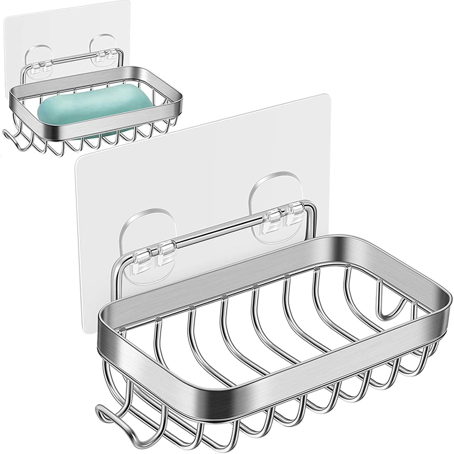 Soap Dish, 2 Pack Soap Dish for Shower with Hook Wall Mounted Bar Soap Holder for Bathroom Kitchen