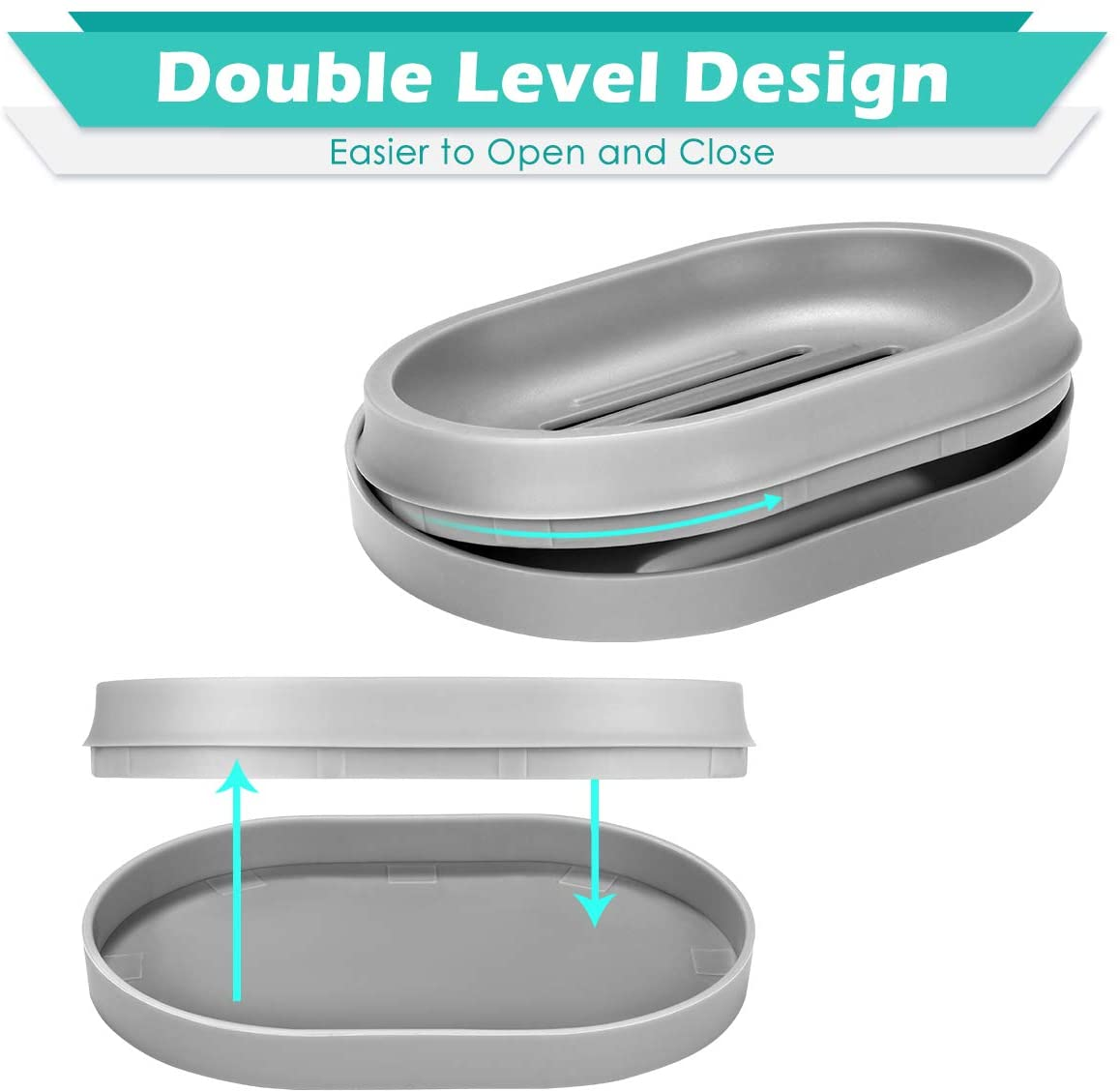 Soap Dishes, 3 Pack Soap Bar Holder with Drainage Design,Double-Layer Soap Saver Soap Box