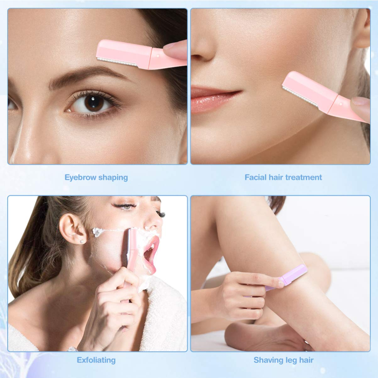 Eyebrow Shavers, Multipurpose Exfoliating Eyebrow Razor Trimmer Shaper Shaver with Precision Cover,12PCs