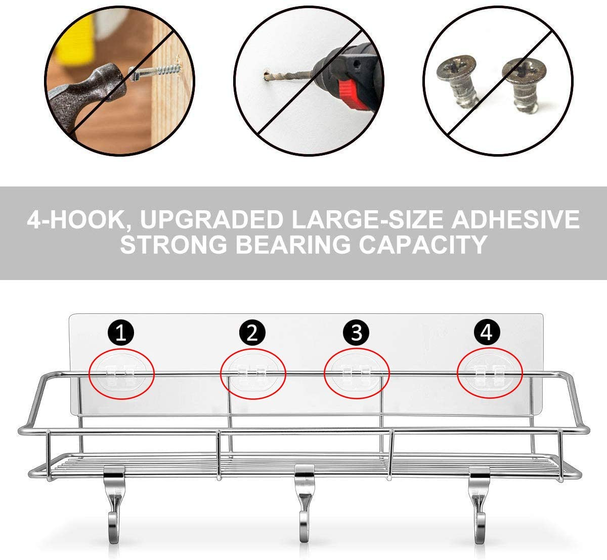 Shower Shelf with Extra 6 Hooks, 2 Pack Shower Shelves for Bathroom and Kitchen Storage Organizers