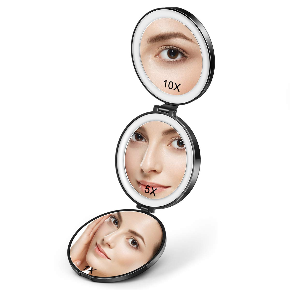 Magnifying Cosmetic Mirror with Light, 1X/5X/10X Led Lighted Travel Compact Makeup Mirror Folding Portable