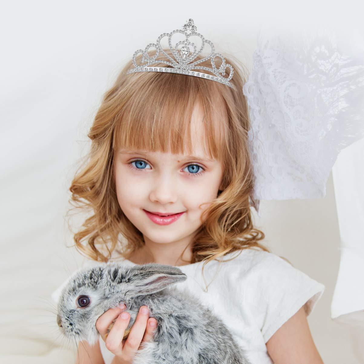 Crystal Rhinestones Tiara, Tiara Crown Wedding Bridal Tiara Headband Princess Crown with Comb 2 Pack
