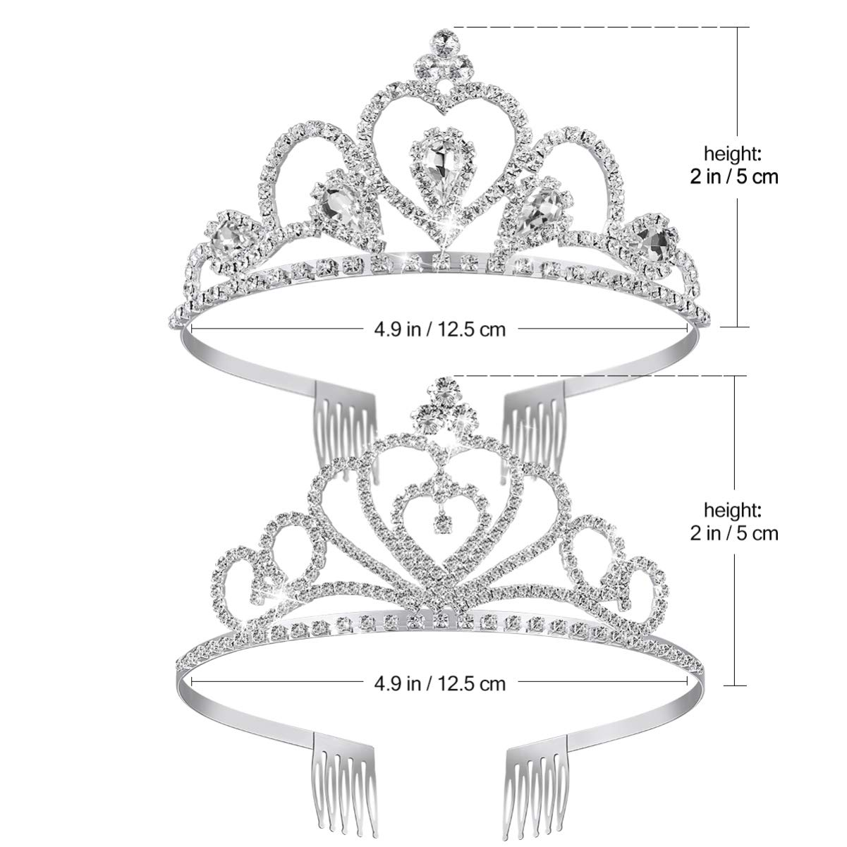 Bridal Crown Headband, Crystal Tiara Wedding Bridal Birthday Pageant Princess Tiara Crown Headband, 2 Pack