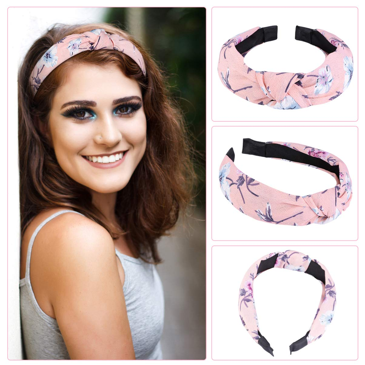 Hair Hoop for Women Girls, Knotted Turban Headbands Hair Hoop Twist Headbands Hair Accessories, 6Pcs